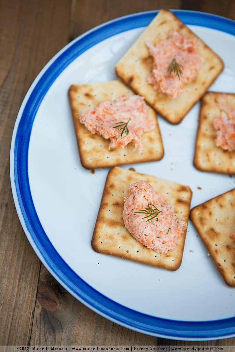 A close up of Smoked Salmon Pâté on crackers