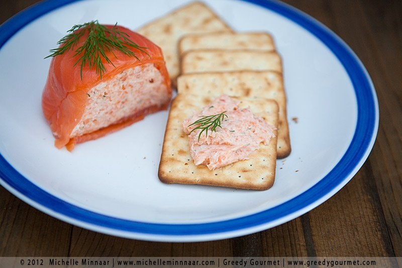 Smoked Salmon Starter - Crackers with pink pate on them