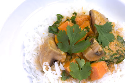 Sweet Potato, Spinach & Mushroom Stew