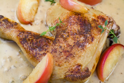 Chicken with Apples in a creamy Calvados sauce