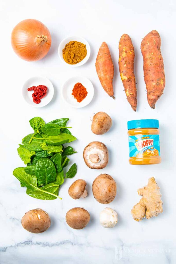 Ingredients to make sweet potato curry