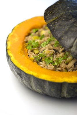 Baked Pumpkin with Mushroom & Leek Stuffing