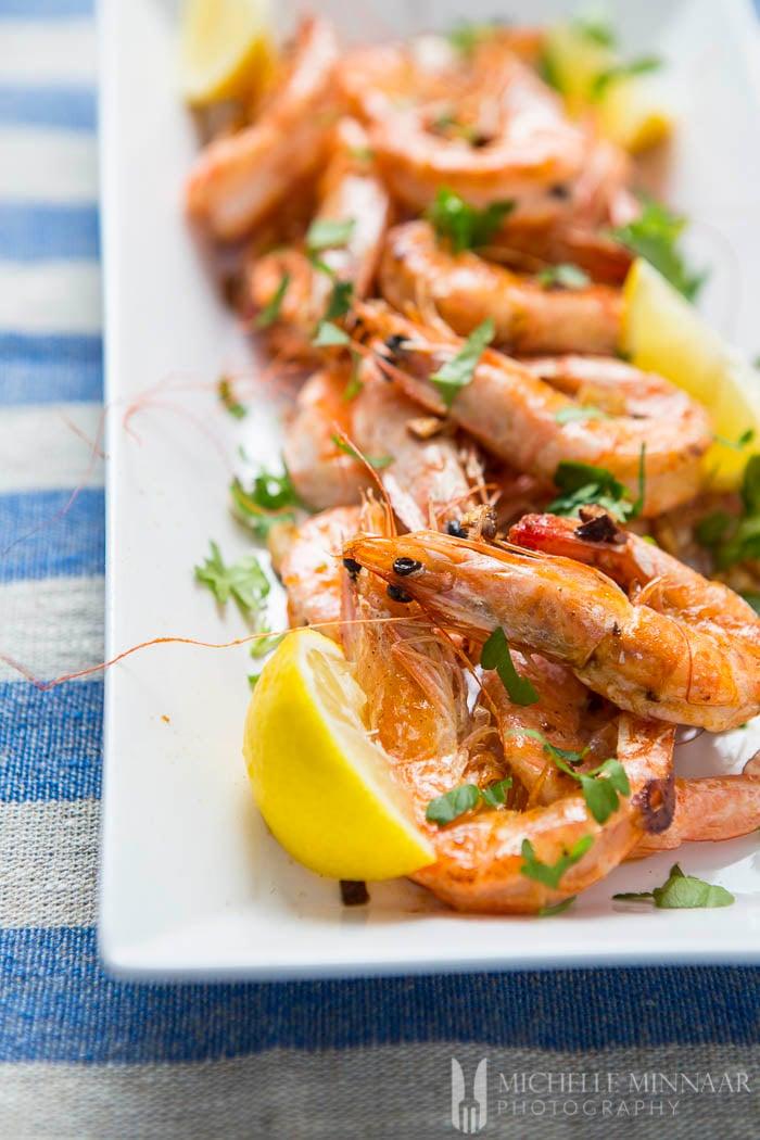 Shrimp on a serving dish