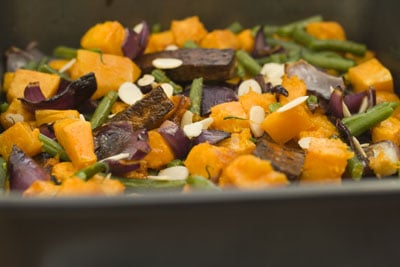 Butternut, Green Beans, Red Onions and Tofu with Maple Syrup Glaze