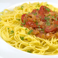 Spaghetti with Tomatoes and Pancetta