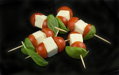 Cherry Tomato, Feta & Basil Kebabs