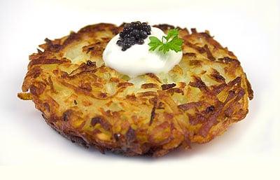 Potato Latkes with Caviar and Crème Fraîche