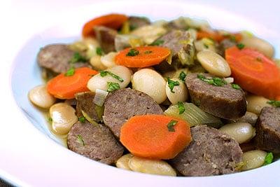 Pork Sausage, Leek, Carrot & Butter Bean Casserole