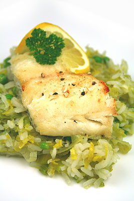 Grilled Haddock on Lemon, Leek and Pea Rice
