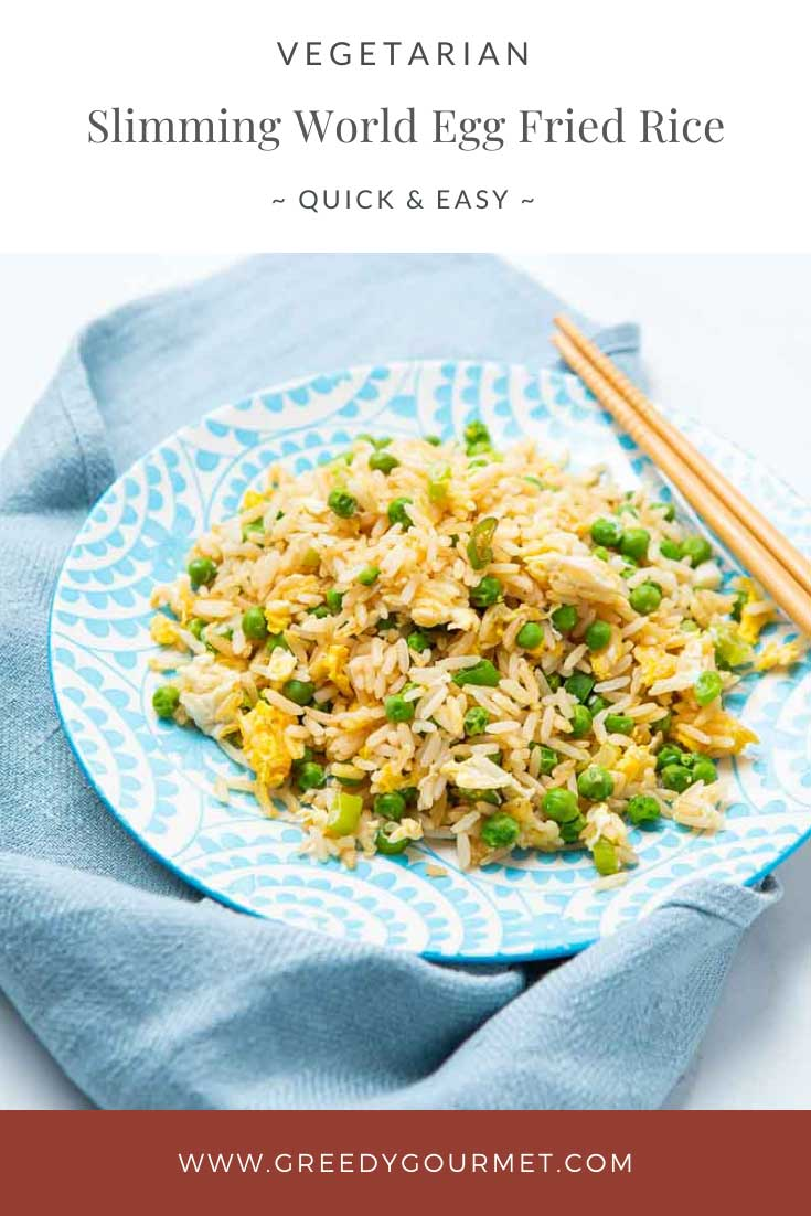 Full plate of slimming world egg fried rice and chopsticks