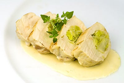 Leek-Stuffed Chicken Breasts with a Creamy White Wine Sauce