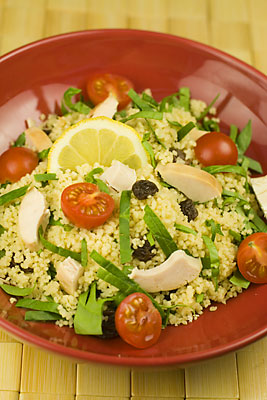 Chicken, Cherry Tomato, Spinach, Raisin & Couscous Salad