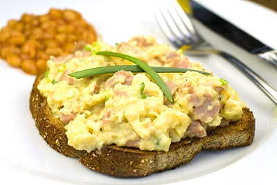 Scrambled Eggs with Ham & Spring Onions on Toast