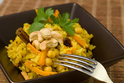 Spiced Chickpea, Carrot, Raisin & Cashew Rice Pilaf