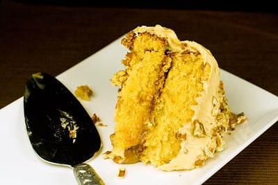 Caramel Coconut Cake with Caramel Butter Frosting & Pecans