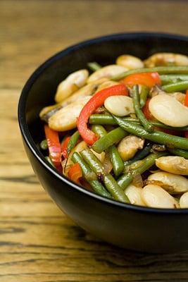 Warm Butterbean, Red Pepper, Green Bean and Mushroom Salad