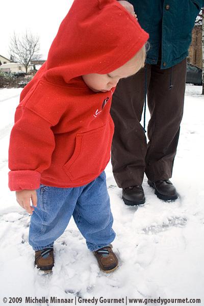 Gabriel's first taste of snow