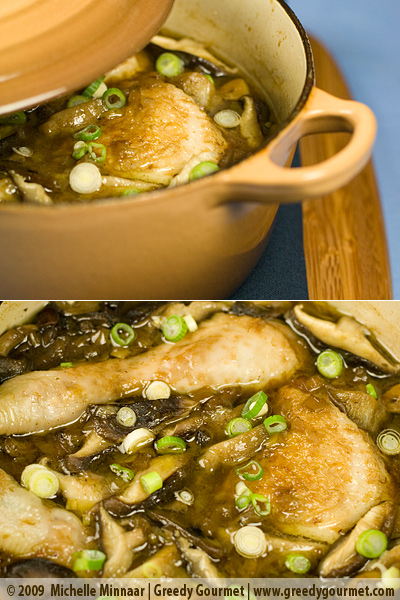 Cantonese Chicken, Shiitake Mushroom, Leek and Water Chestnut Stew