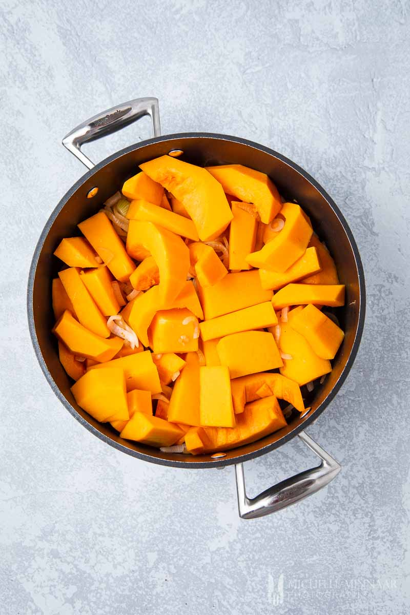 Cubed Butternut in a stock pot