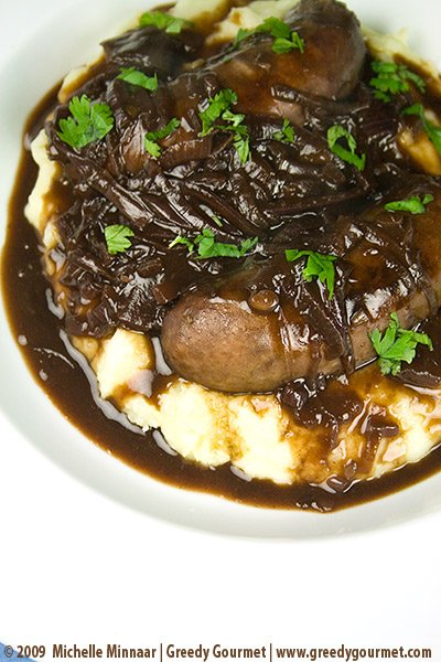 Pork Sausages with Onion & Red Wine Gravy