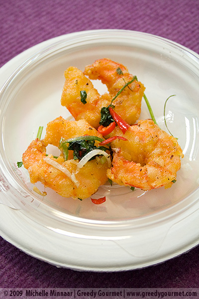 Salt and pepper prawns with spring onions and coriander