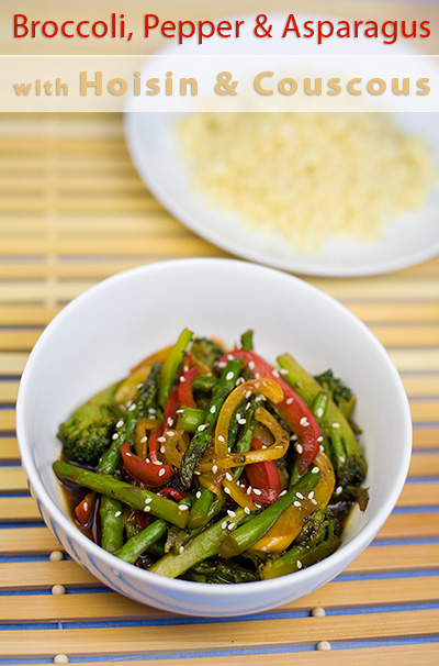 Broccoli, Red Pepper and Asparagus with Hoisin Sauce and Couscous