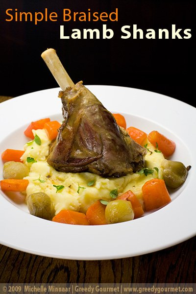 Braised Lamb Shanks with Thyme, Roast Carrots and Baby Onions
