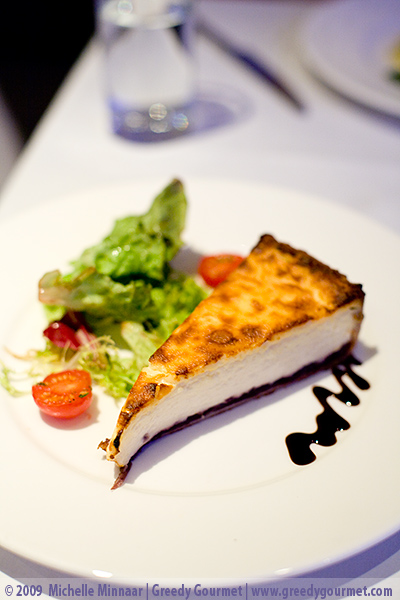 Goat's Cheese & Caramelised Onion Tart with Herb Leaf Salad