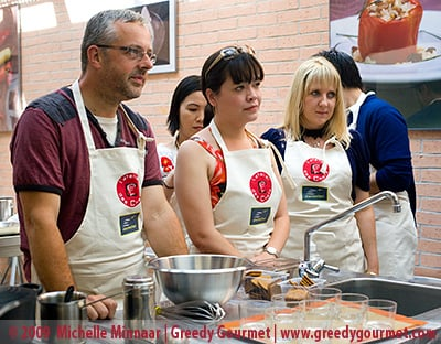 Food bloggers at a cookery class
