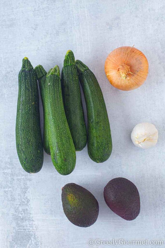 Ingredients to make avocado soup