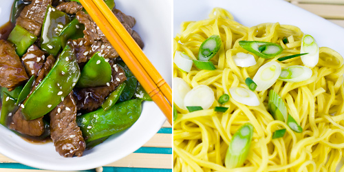 Beef & Snow Pea Stir-Fry with Egg Noodles