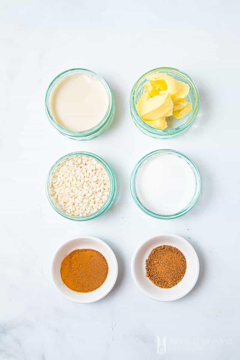 Ingredients to make rice pudding