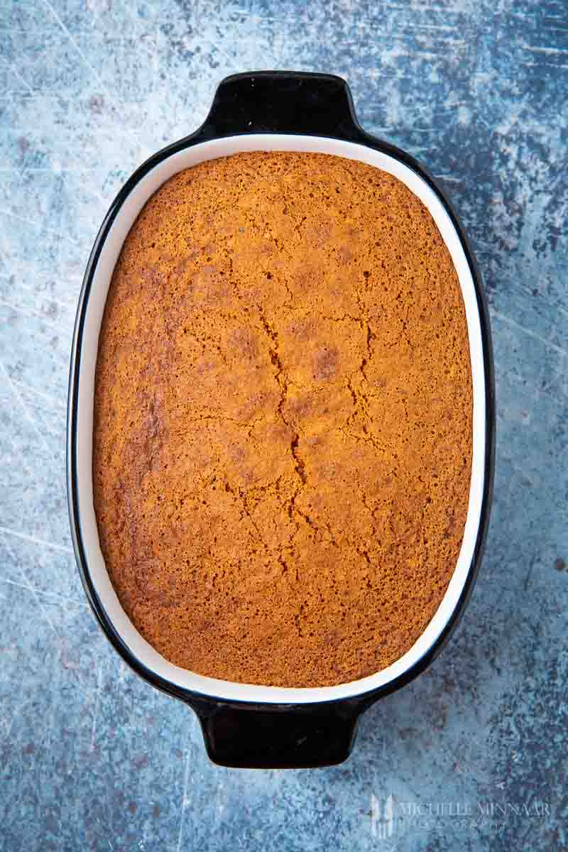 Baked brown pudding