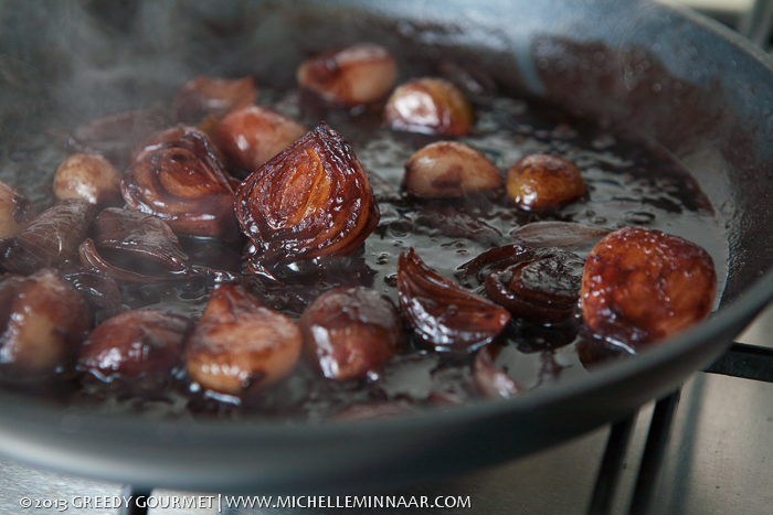 Shallots in a red wine sauce