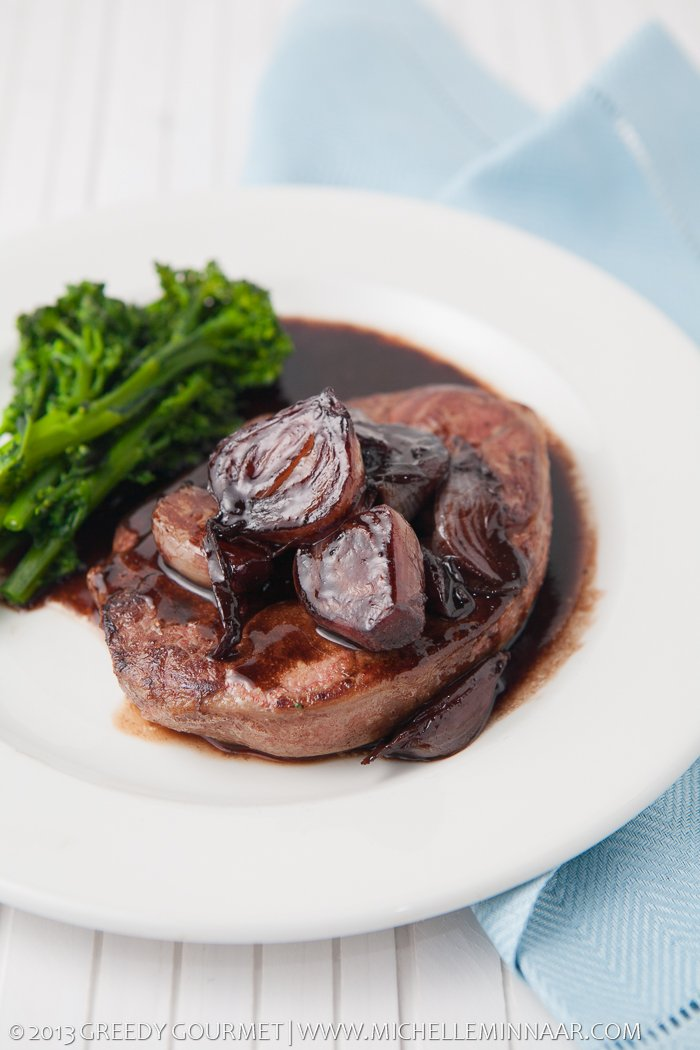 Lamb Steaks, Broccoli and Shallots with a red wine sauce