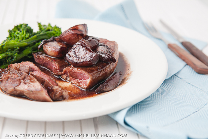 Lamb Steaks and Shallots with Red Wine Jus