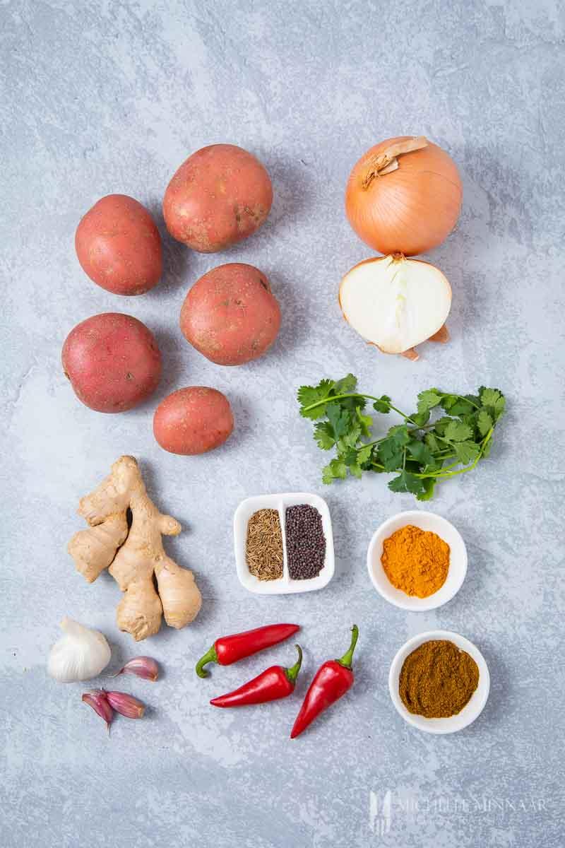 Ingredients to make bombay aloo