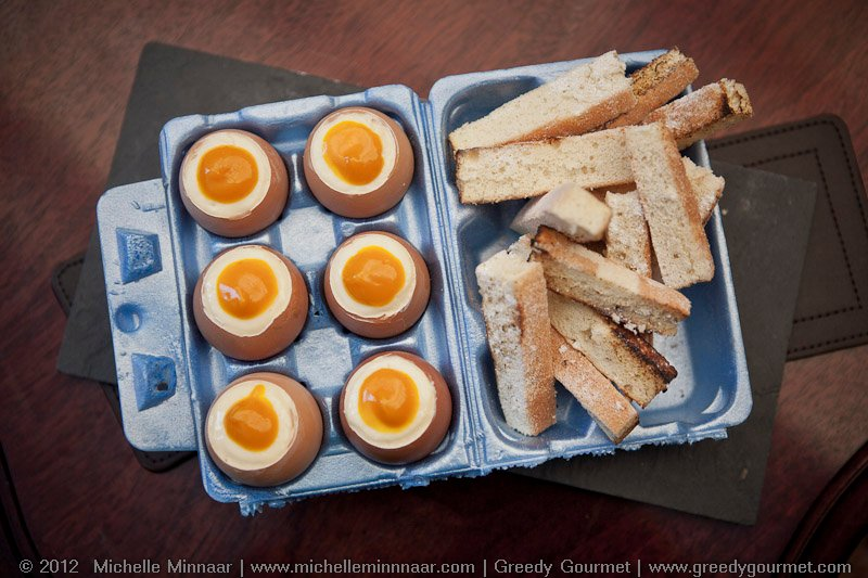 Sponge Cake Soldiers with White Chocolate Mousse & Mango Coulis Dippy Eggs