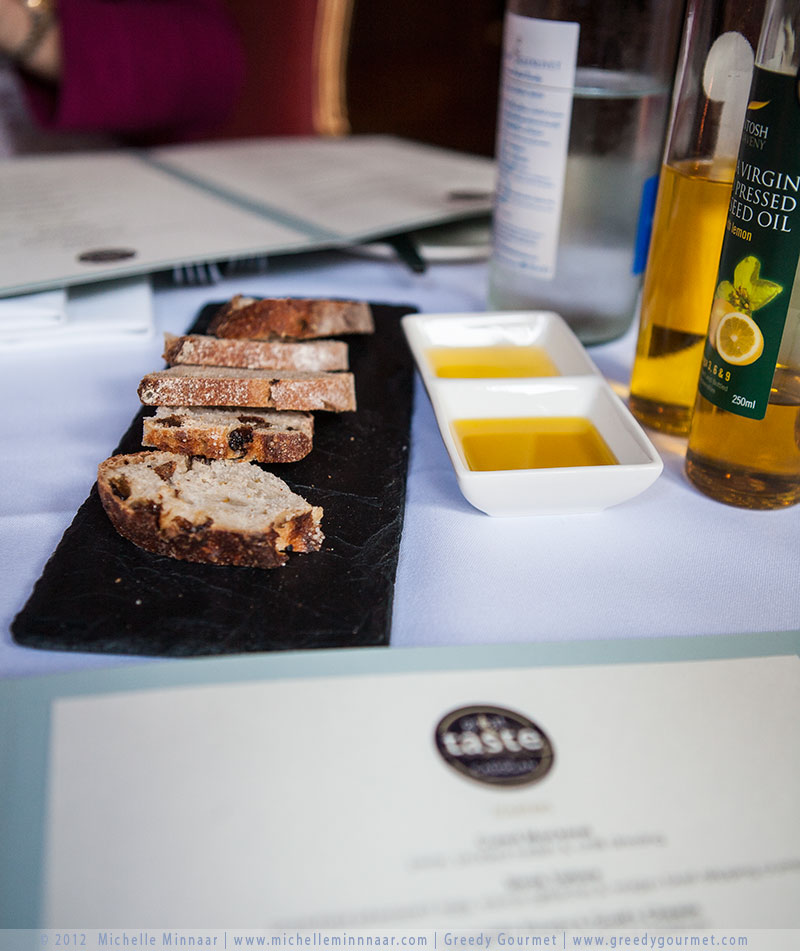 Bread served with British cobnut and rapeseed oil