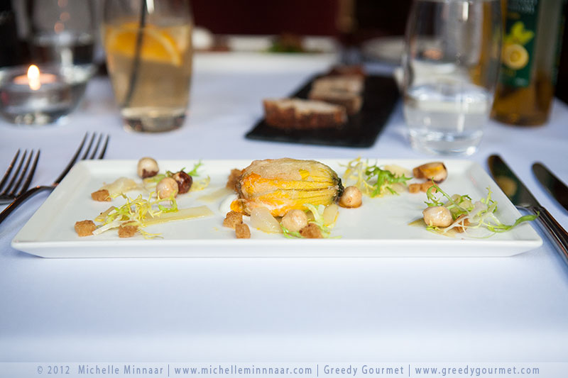 Courgette Flower & Goat's Cheese with Wild Honey, Cucumber & Hazelnuts