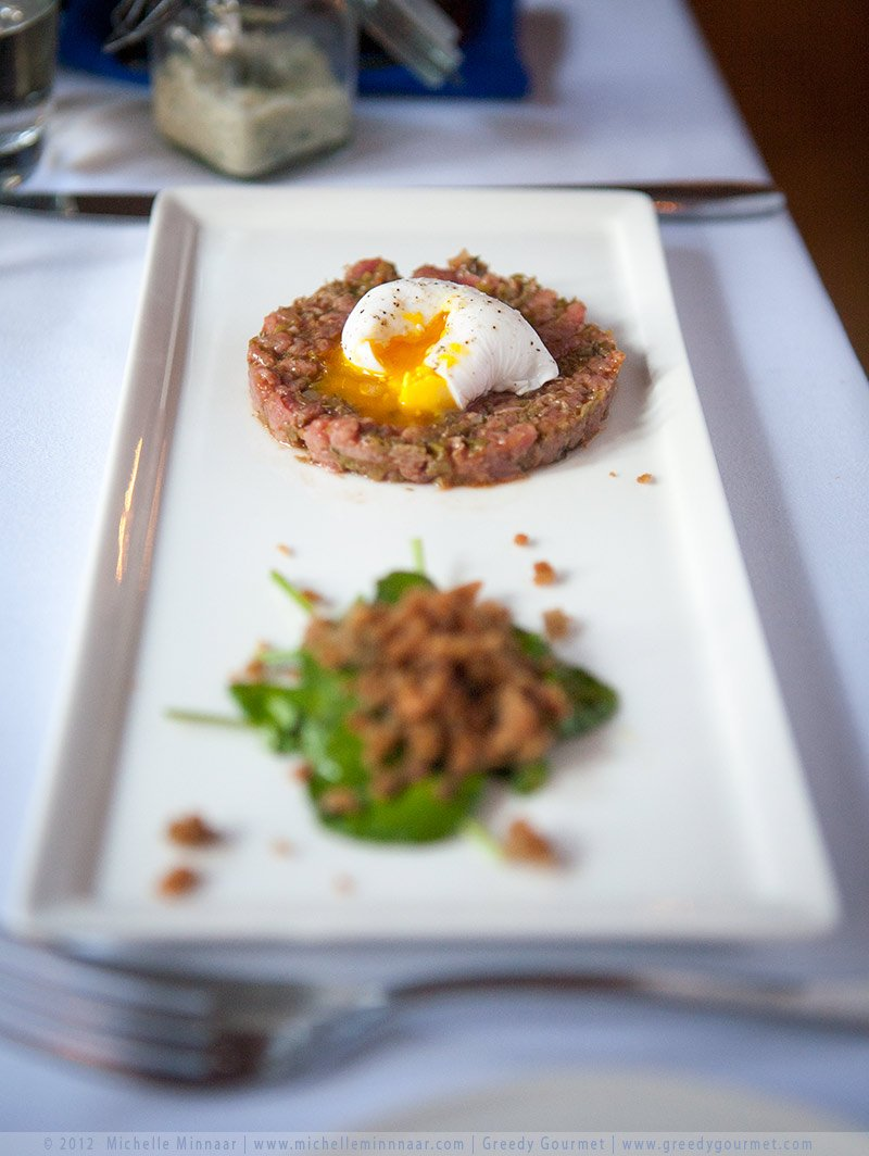 Steak Tartare with a poached pheasant egg, sauce gribbiche and Wagyu beef dripping crumbs