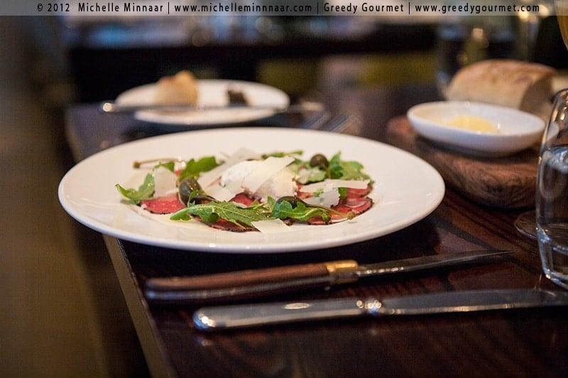 Carpaccio of Longhorn beef, thyme and truffle, horseradish cream