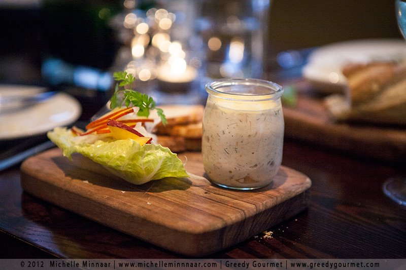 Potted trout, pickled fennel and nectarine salad