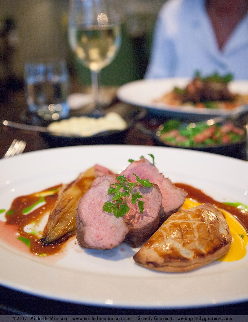 Roast Gressingham duck breast, braised leg pastilla, summer squash purée, chicory, aniseed jus