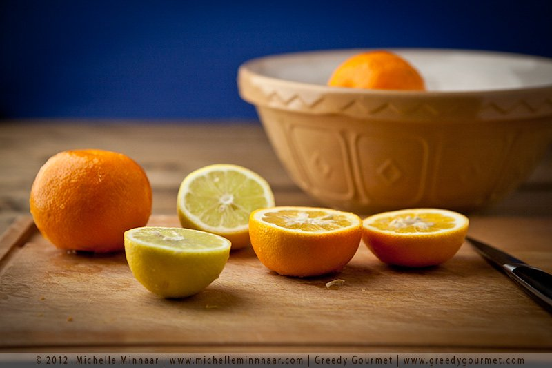 Squeeze all the juice out of the lemons and oranges