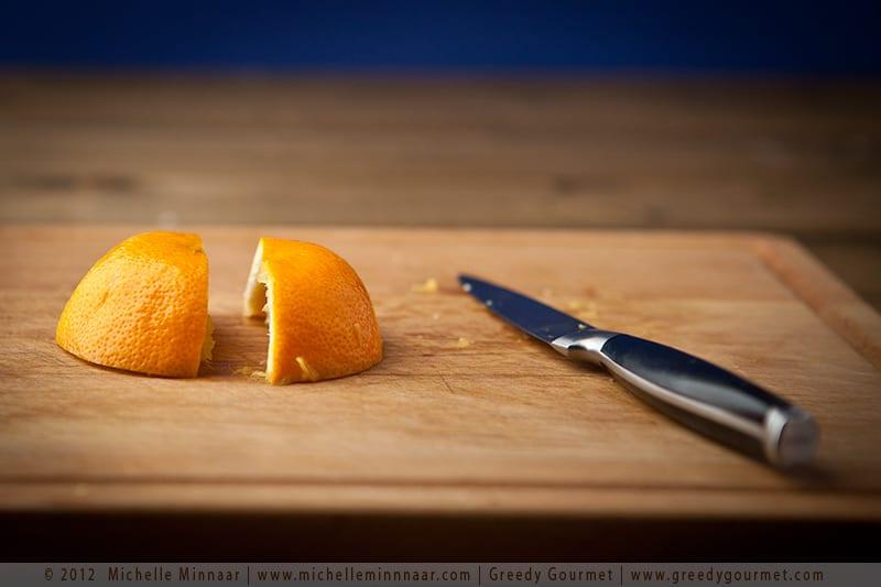 Halve the orange peel