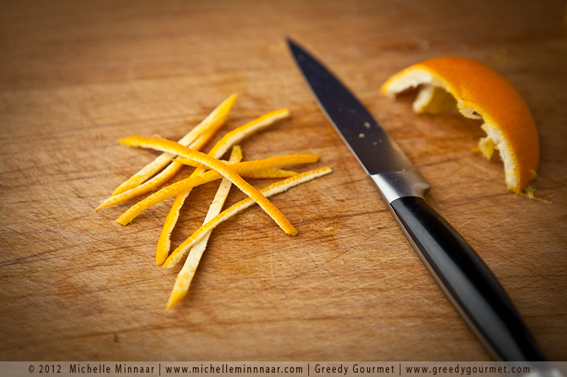 Finely cut orange peel