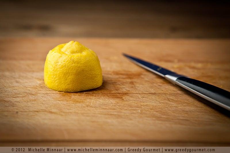 Half a lemon ready to be shredded