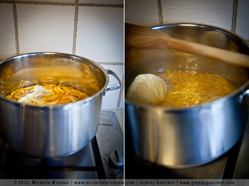 Simmer the citrus peels, juice and muslin bags
