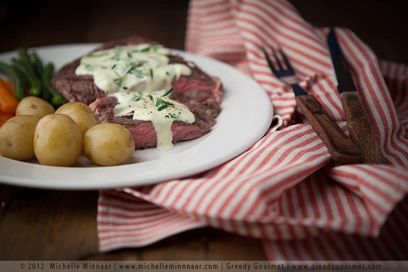 Rib-Eye Steak with Blue Cheese Sauce